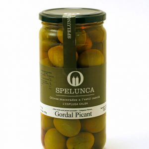 Spicy green Gordal olives with stone