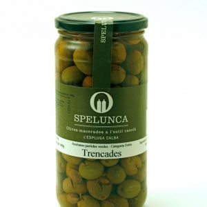 Broken green olives
