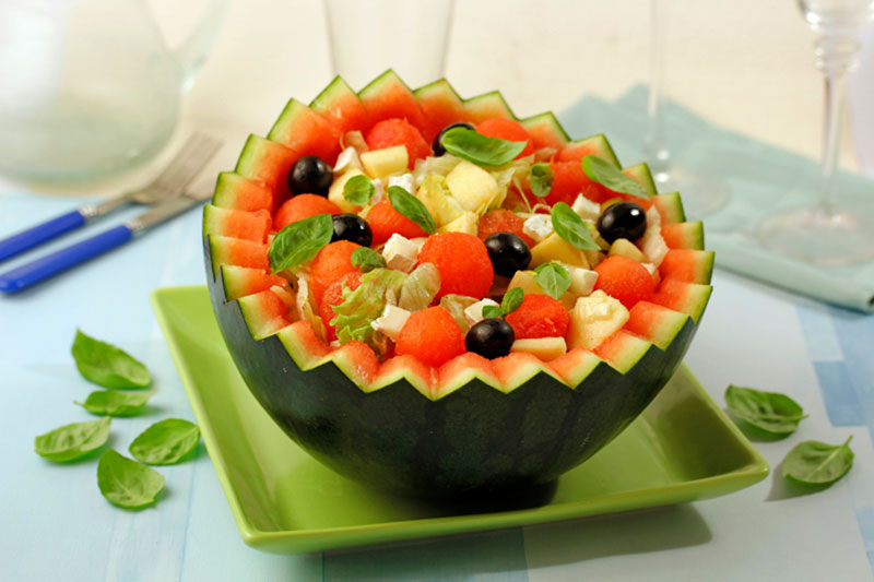 Recipes for cooking: watermelon salad with extra virgin olive oil Spelunca Espluga Calba DO Garrigues