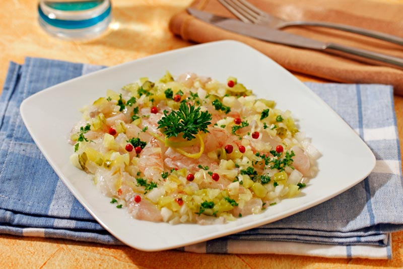 MONKFISH CEVICHE I GAMBES