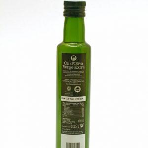 Botella de 0,25 L etiqueta negra. Aceite de Oliva Virgen Extra Spelunca 100% arbequina