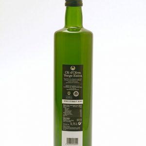 Botella de 0,75 L etiqueta negra. Aceite de Oliva Virgen Extra Spelunca 100% arbequina