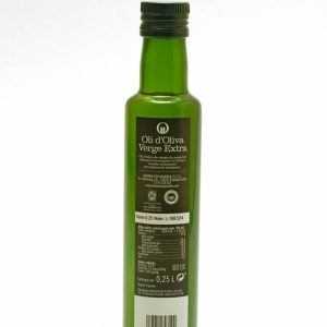 Botella de 0,25 L etiqueta negra. Oli d'Oliva Verge Extra Spelunca 100% arbequina