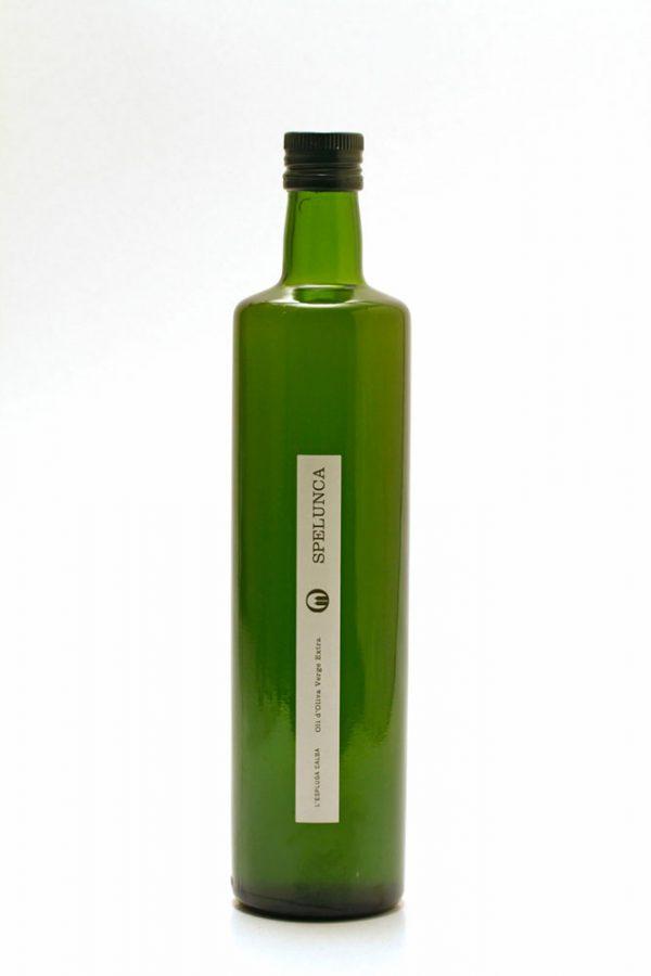 Botella de 0,75 L etiqueta blanca. Oli d'Oliva Verge Extra Spelunca 100% arbequina