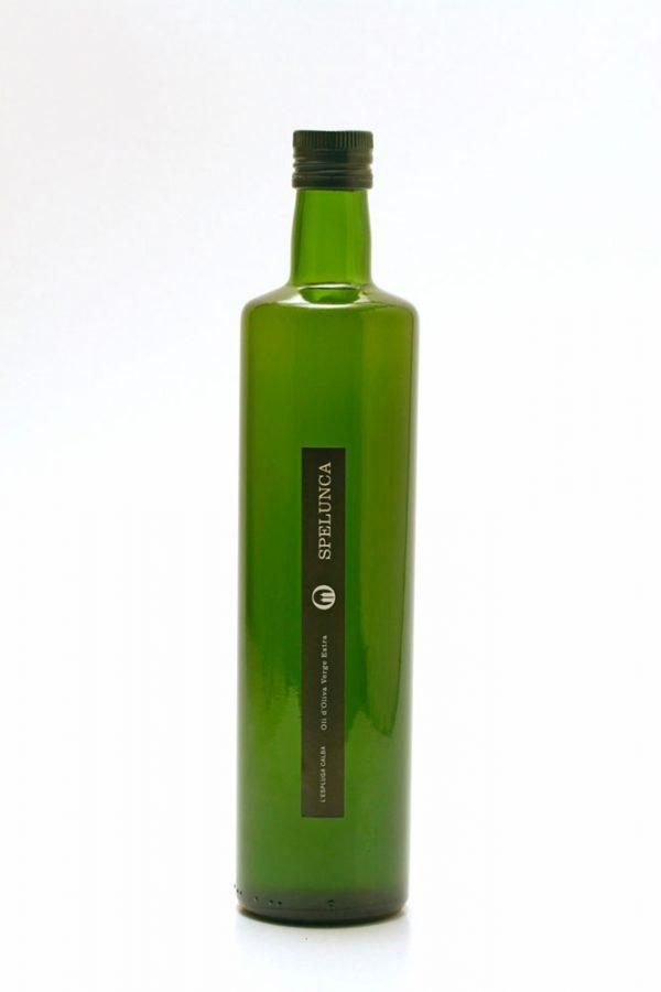 Botella de 0,75 L etiqueta negra. Oli d'Oliva Verge Extra Spelunca 100% arbequina