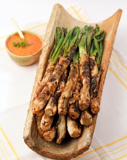 Receptes per cuinar: calçots rostits i la seva salsa amb oli d'oliva verge extra Spelunca Espluga Calba DO Garrigues